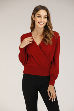 Mantra Pakistan Red Overlay Sweater | TOPS