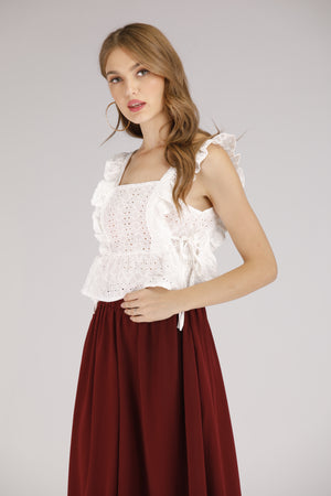 Mantra Pakistan Lace Sleeveless White Tank | TOPS