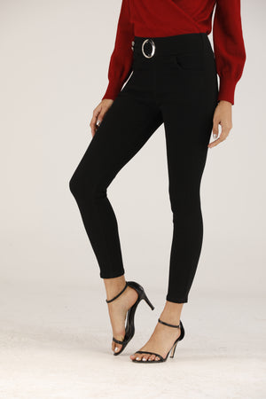Mantra Pakistan High Rise Banded Jeans | BOTTOMS