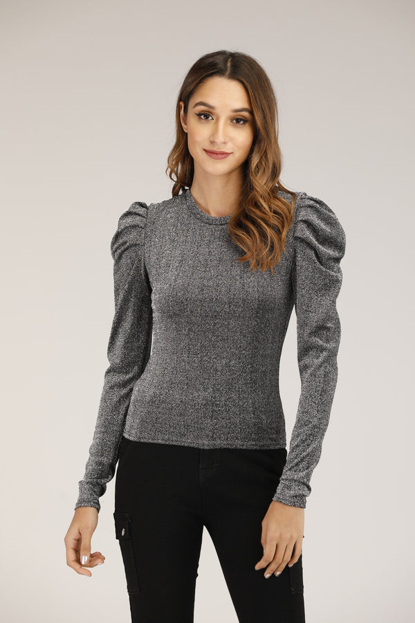 Silver Glitter Top with Puffy Sleeves
