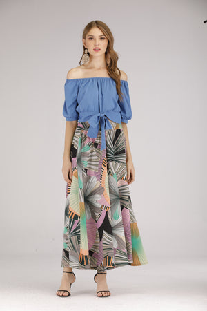 Mantra Pakistan Colourful Leaf Flowy Pants | BOTTOMS