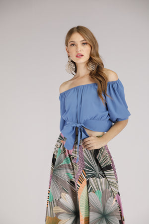 Mantra Pakistan Blue Tie-Front Off Shoulder Top | TOPS