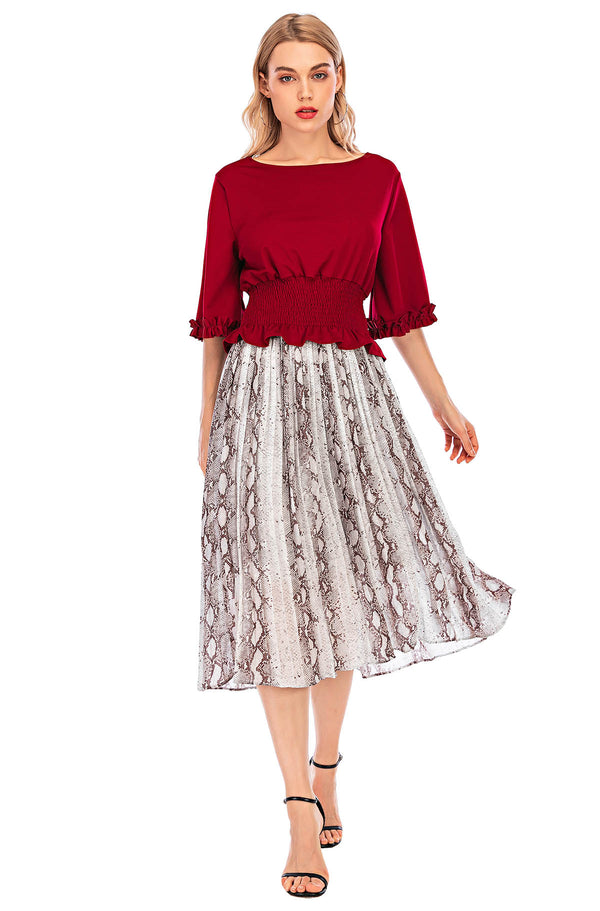 Mantra Pakistan Snake Printed pleated  skirt | Western Wear