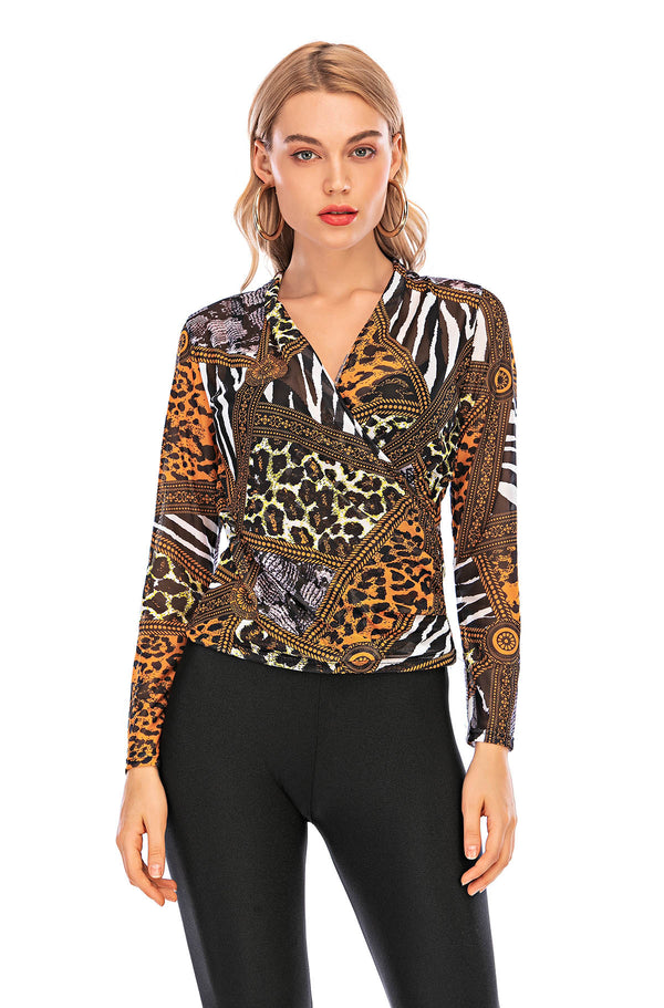 cheetah print mesh top