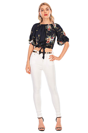 Mantra Pakistan Floral top with A self tie | Western Wear