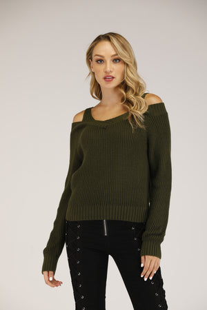 Mantra Pakistan Cold Shoulder Sweater with straps | OUTERWEAR