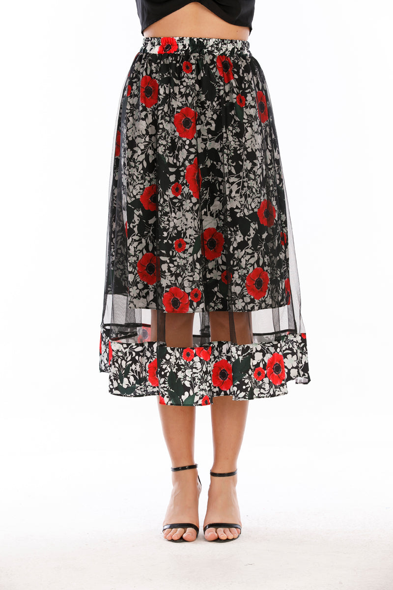 Mantra Pakistan Mesh Floral Skirt |