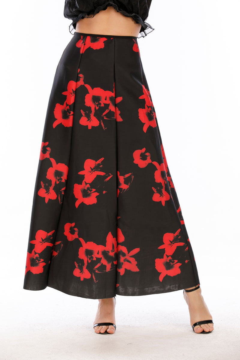 Mantra Pakistan Red Floral Print Skirt |