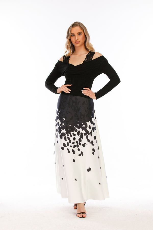 Mantra Pakistan Black & White Long Skirt |
