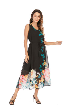 Mantra Pakistan CHIFFON DRESS WITH FLORAL PRINT |