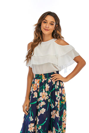 Mantra Pakistan Cold Shoulder Overlay Ruffle Top |