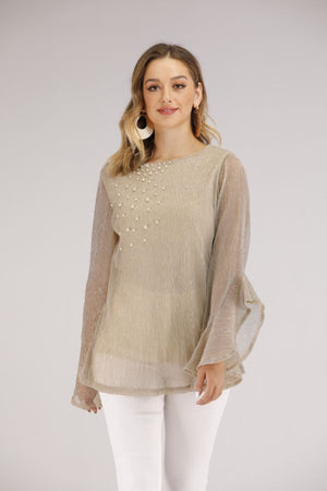 Mantra Pakistan FLARED SLEEVES TOP WITH PEARLS | TOPS