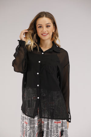 Mantra Pakistan Sheer Black Button Down Shirt | TOPS
