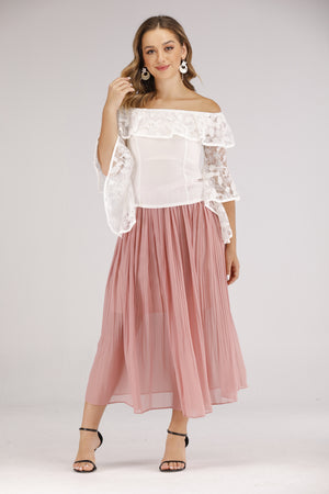 Mantra Pakistan Pink Pleated Skirt | BOTTOMS