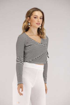 Black and White Striped Long Sleeve Top and Side Tie