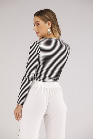 Mantra Pakistan Black and White Striped Long Sleeve Top and Side Tie | TOPS