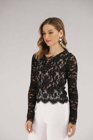 Long Sleeve Lace with Tie Up