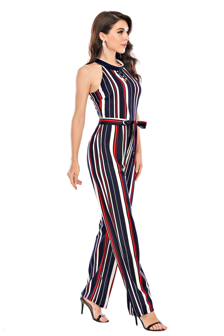 Mantra Pakistan Stripe Halter Neck Jumpsuit | Western Wear