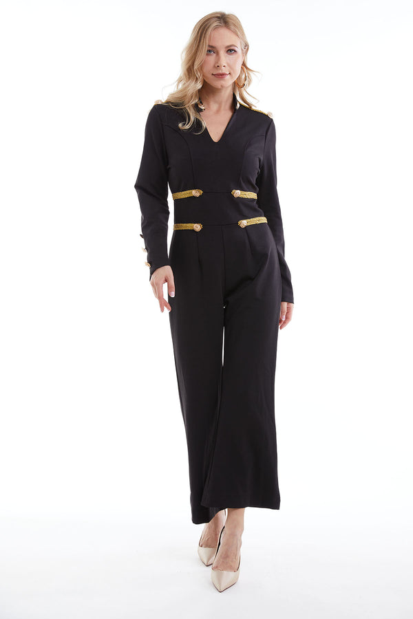 Mantra Pakistan Black jumpsuit with golden straps | DRESS
