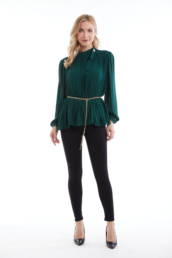 Mantra Pakistan Pleated Green Top | DRESS