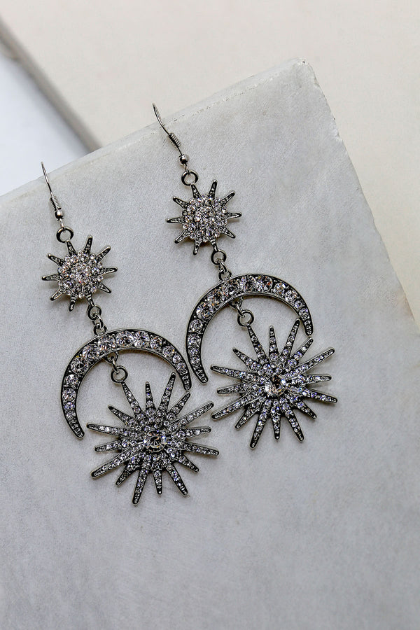 Mantra Pakistan Crescent Moon & Star Drop Earrings | ACCESSORIES