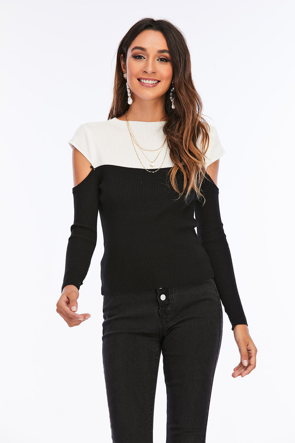 Mantra Pakistan Black and white Cold Shoulder Top | Western Wear