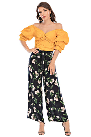 Mantra Pakistan Floral Flowy Pants | Western Wear