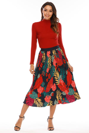 Mantra Pakistan Navy leaf Print Skirt | Western Wear