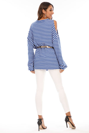 Mantra Pakistan Cold shoulder striped tee | Western Wear