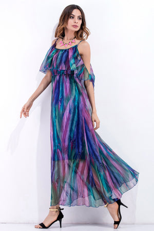 Cold Shoulder Rainbow Dress