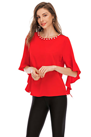 Top with pearls and flare sleeves