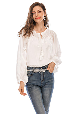 Mantra Pakistan White top with drawstring neck | Western Wear