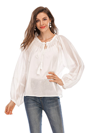 White top with drawstring neck