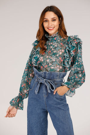 GREEN PRINTED TOP WITH FRILLS ON SHOULDER - Mantra Pakistan