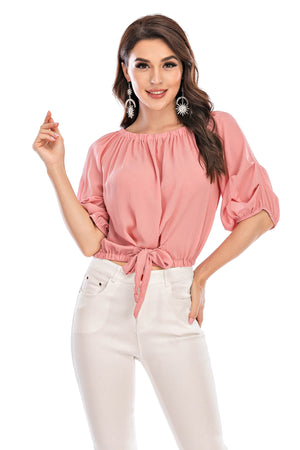 Mantra Pakistan Off Shoulder Top With Front Tie | Western Wear