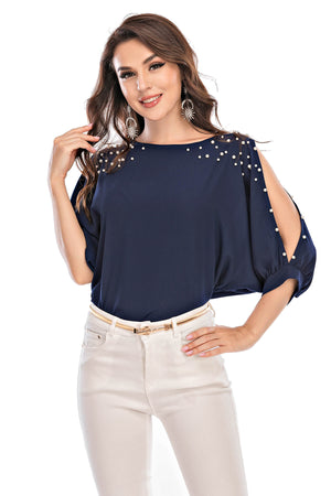 Mantra Pakistan Cold Shoulders Top With Pearls | Western Wear