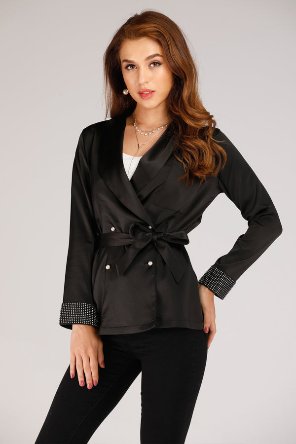 Mantra Pakistan BLAZER WITH PEARL SLEEVES | OUTERWEAR