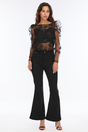 Mantra Pakistan Sheer Butterfly Top With Puffy Sleeves | Western Wear