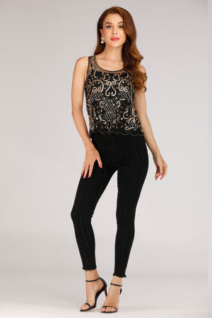 BLACK MESH TANK TOP WITH GOLD SEQUINS - Mantra Pakistan