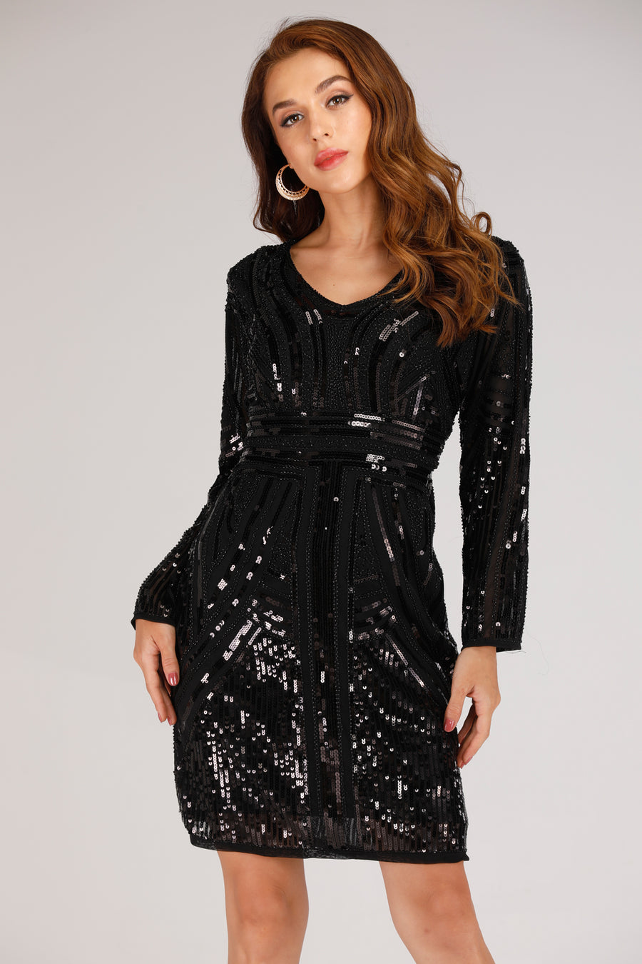 Mantra Pakistan BLACK LONG SLEEVE DRESS WITH BLACK SEQUINS | DRESS