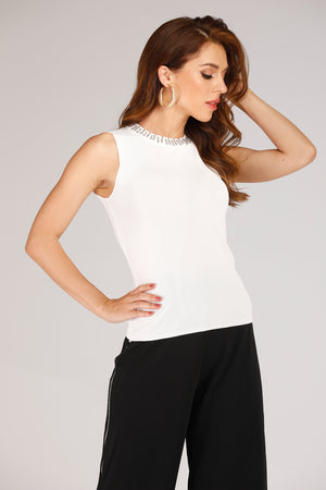 Mantra Pakistan TANK TOP WITH NECK PEARLS | TOPS