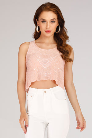 Mantra Pakistan PINK TANK TOP WITH PINK PEARLS | TOPS