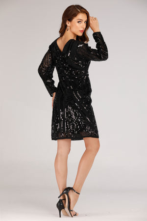 BLACK LONG SLEEVE DRESS WITH BLACK SEQUINS