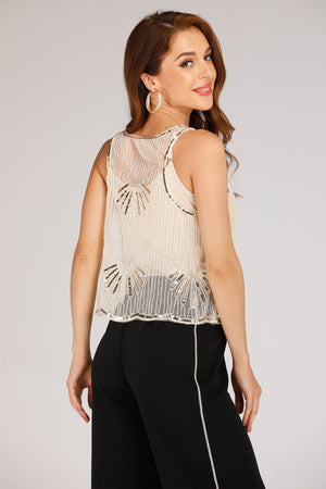 Mantra Pakistan MESH TANK TOP WITH GOLDEN SEQUINS | TOPS