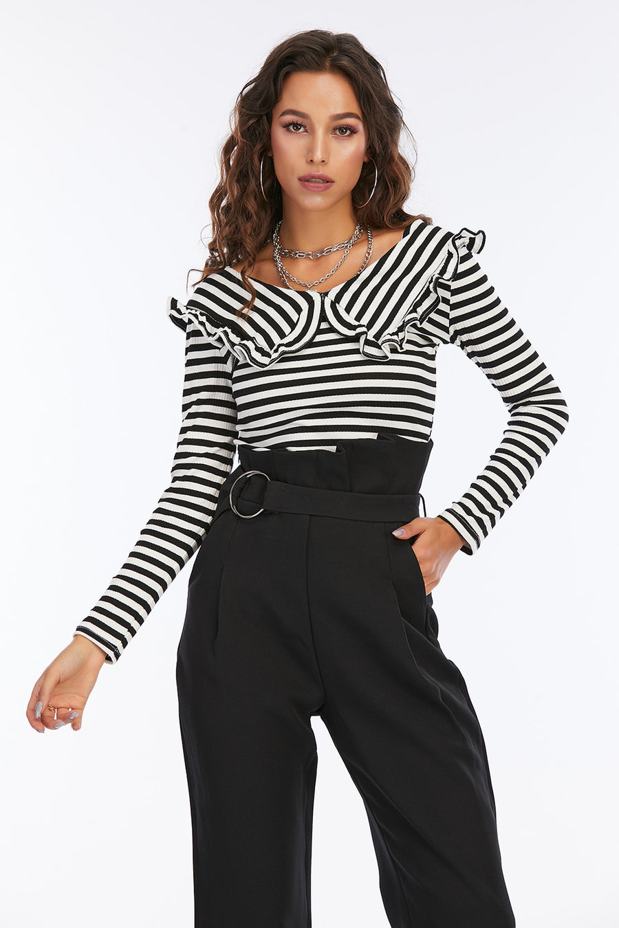 Mantra Pakistan Black & White Striped Top | Western Wear