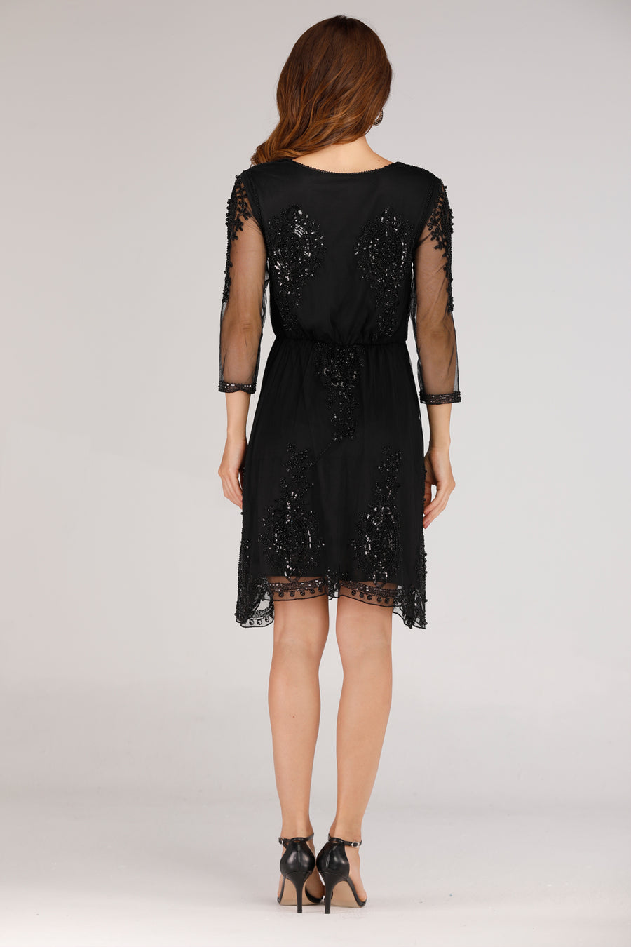 BLACK LOG DRESS WITH MESH SLEEVES AND BLACK SEQUINS