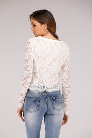 Mantra Pakistan Long Sleeve Lace with Tie Up | TOPS