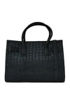BLACK CROC PATTERNED BAG