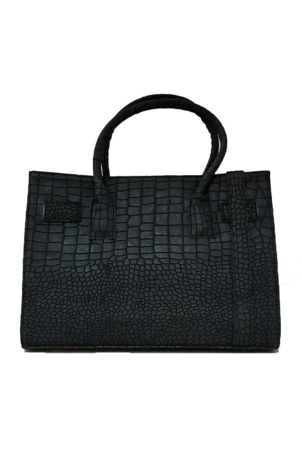 BLACK CROC PATTERNED BAG - Mantra Pakistan