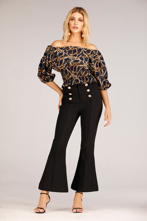 Mantra Pakistan Blue Chain Print Off Shoulder Top | TOPS